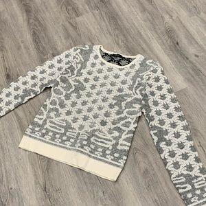 RW & CO. White & Silver/Gray Crewneck Kint Sweater